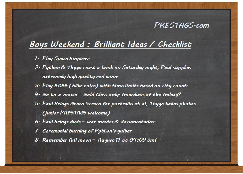Boys Weekend Black Board