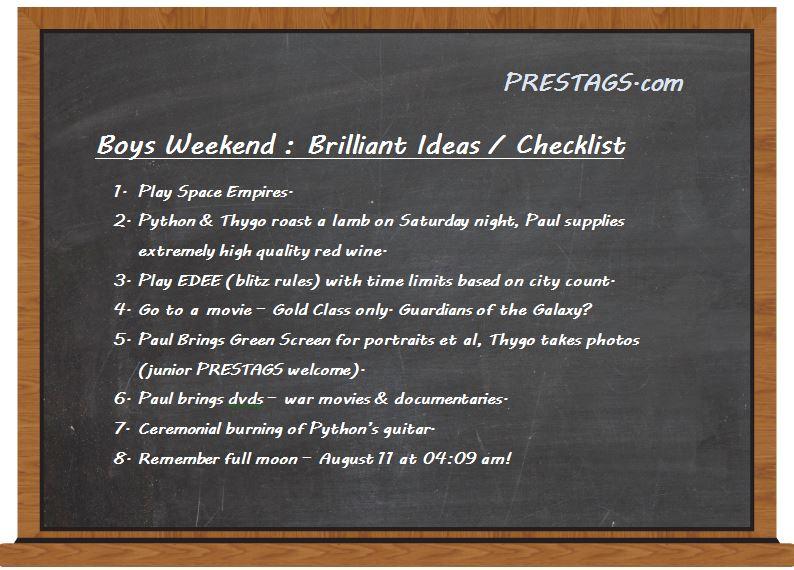 Boys Weekend Black Board