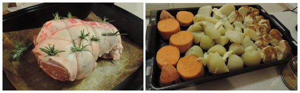 Roast lamb and vegetables before cooking