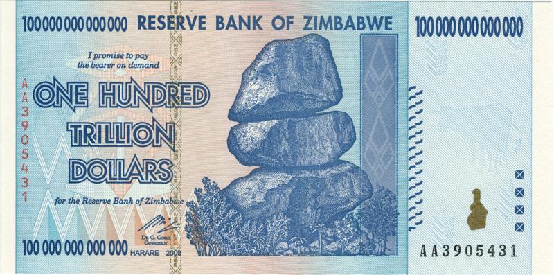 Zimbabwe 100 Trillion Dollar Note Hyper Inflation