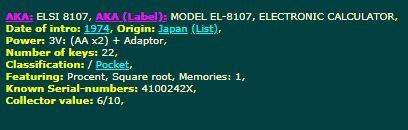 Sharp Elsi 8107 Specs