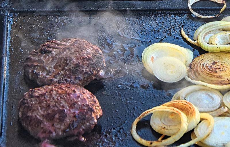BBQ Kangaroo Rissoles & Onions