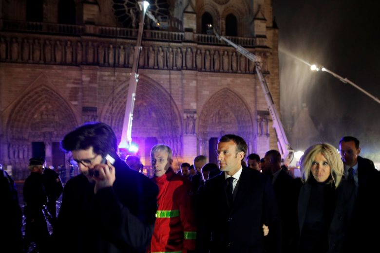 Macron at ruins of Notre Dame