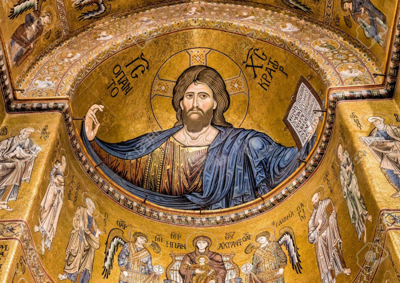Christ-Pantocrator-mosaic-inside-cathedral-of-monreale-near-palermo-sicily-italy