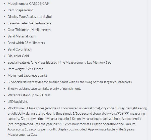 G-Shock GA-810 Specs