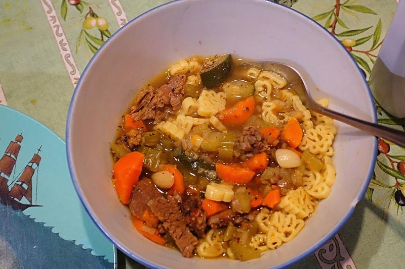 Dinosaur Pasta Lamb Soup