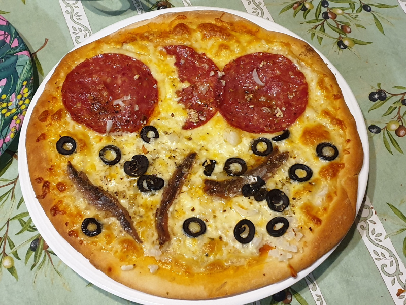 Salami  Anchovies & Olive Pizza