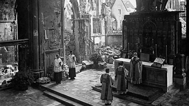 Mass of Ages in Ruined Cathedral