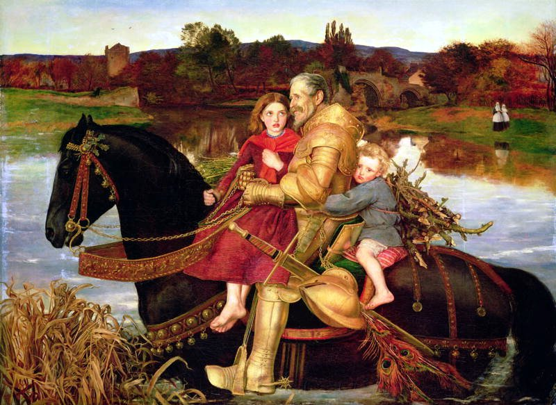 A Dream of the Past  Sir Isumbras at the Ford  John Everett Millais (1857)